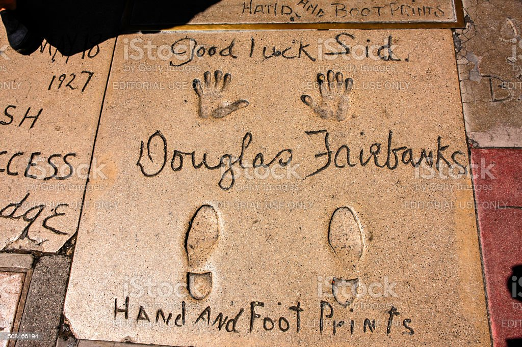 Douglas Fairbanks hand and shoe prints in Hollywood CA stock photo
