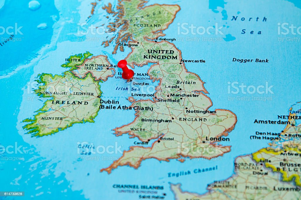 Douglas Isle Of Man Pinned On A Map Of Europe Stock Photo More