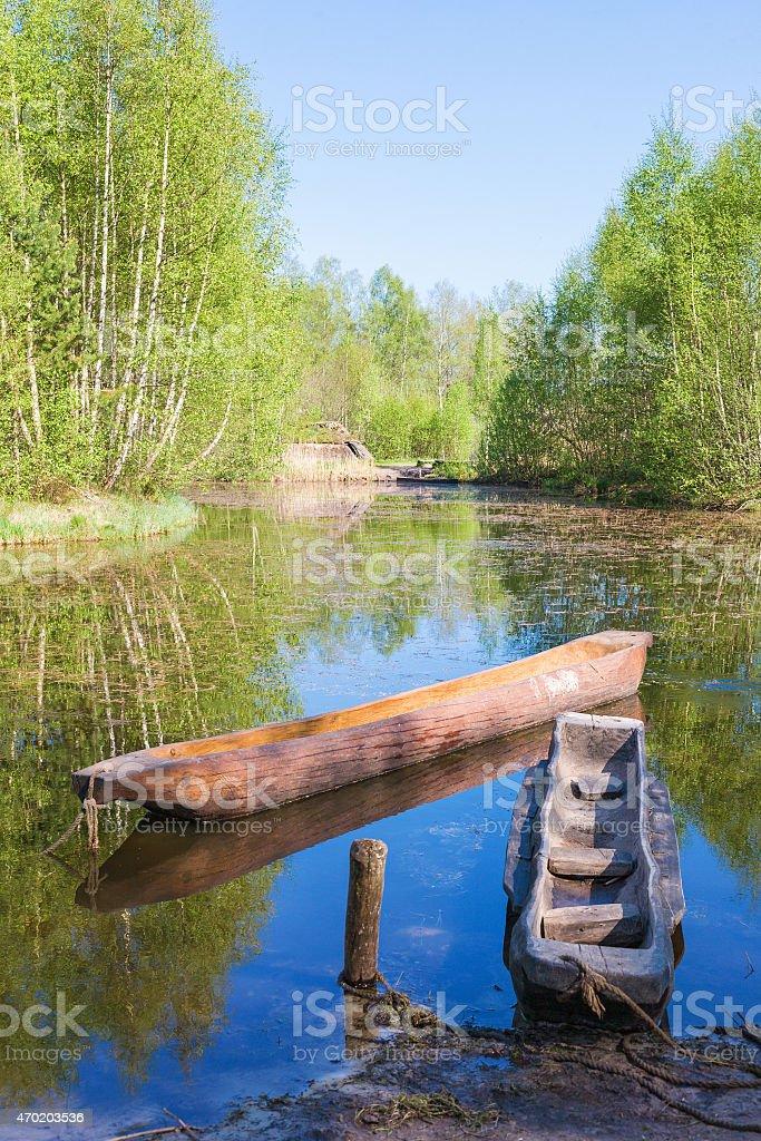 Dougout canoes stock photo