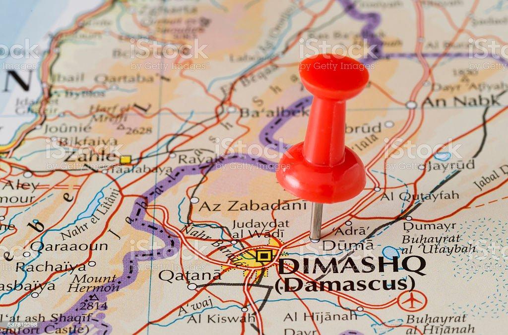Douma (Duma) Marked on Map with Red Pushpin stock photo