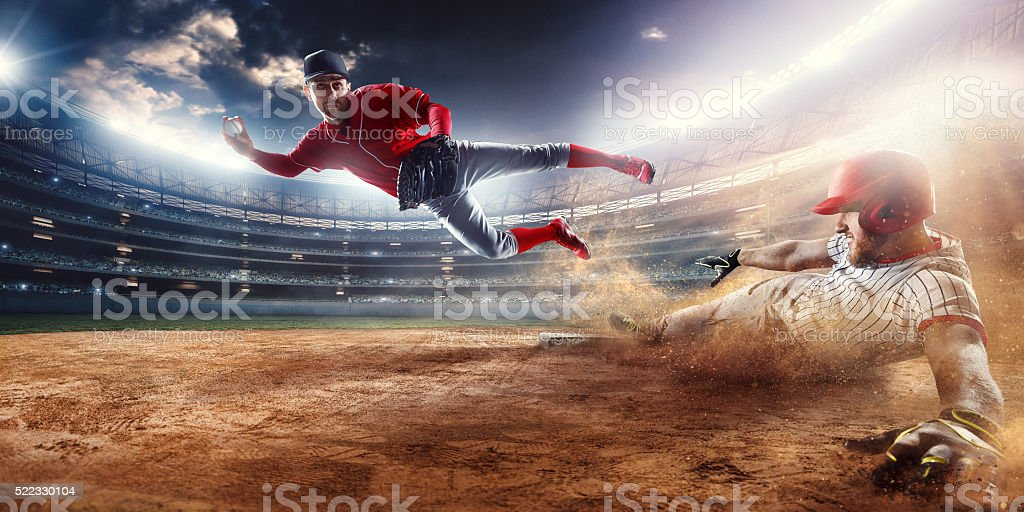 Douple play game on the second base stock photo