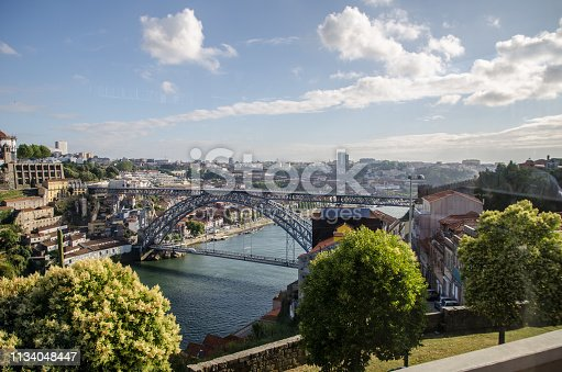 Panoramic view of the cities of Porto and Vila Nova de Gaia in Portugal, with the Dom Luis I bridge clearly visible over the Douro river.