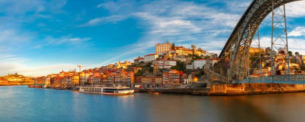 Douro river and Dom Luis bridge, Porto, Portugal stock photo