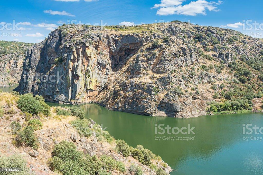 Douro river and the rocky shores in Miranda do Douro, Portugal stock photo
