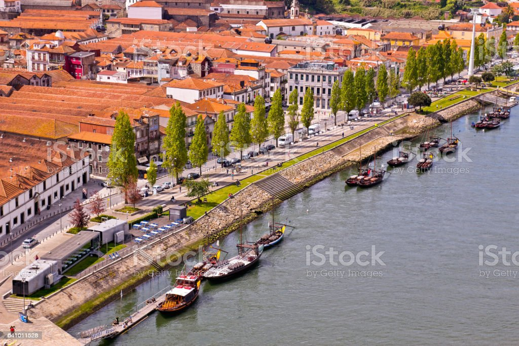 Douro river and traditional boats in Porto, Portugal stock photo