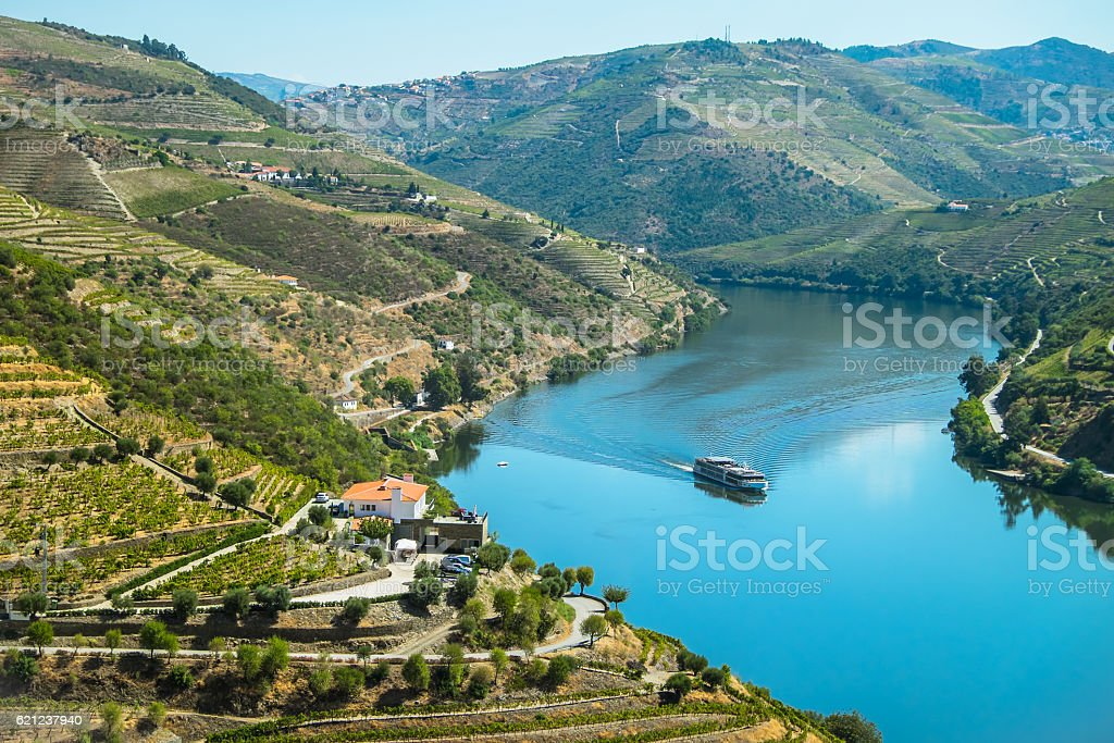Douro river cruising stock photo