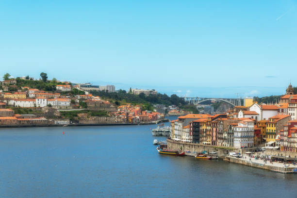 Douro River from Dom Luis Bridge. Porto, Portugal. stock photo