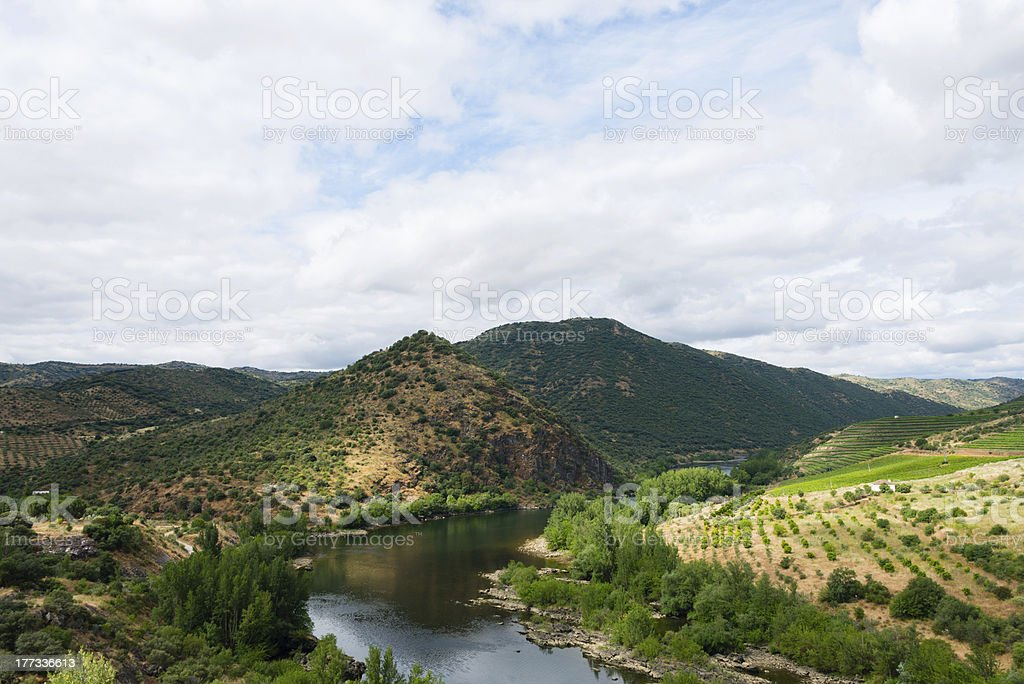 Douro Valley and River in the Iberian Peninsula stock photo
