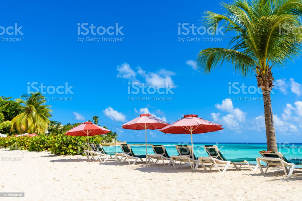 Dover Beach - tropical beach on the Caribbean island of Barbados. It is a paradise destination with a white sand beach and turquoiuse sea. stock photo