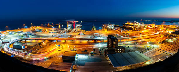 Dover port at night stock photo