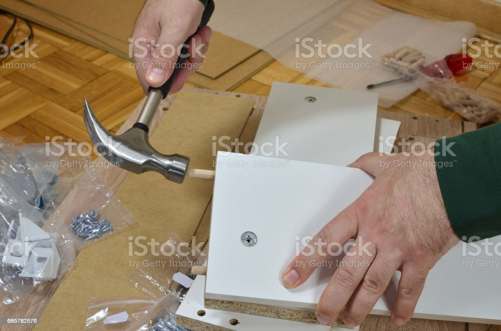 Dowels and Hammer royalty-free stock photo