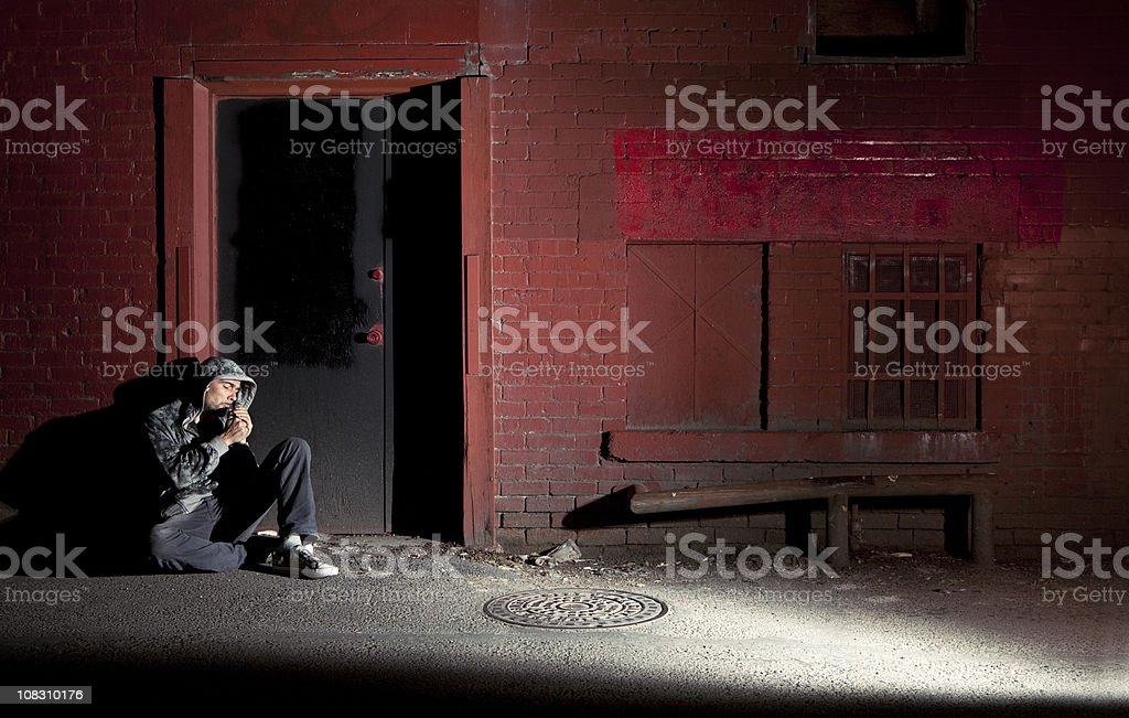 down and out stock photo