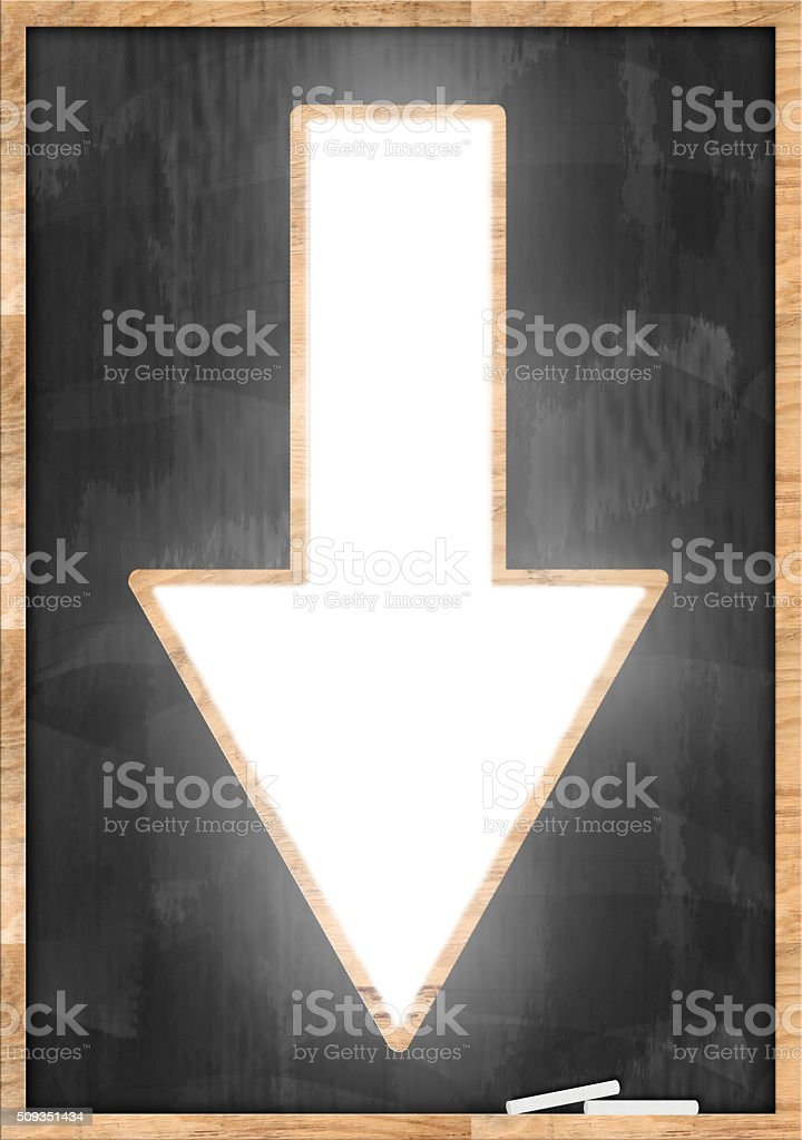 Down Arrow / Blackboard concept (Click for more) stock photo