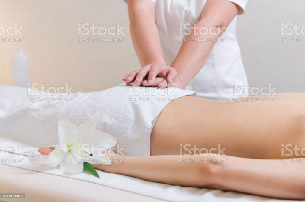 Down Back Massage At Spa Salon Stock Photo