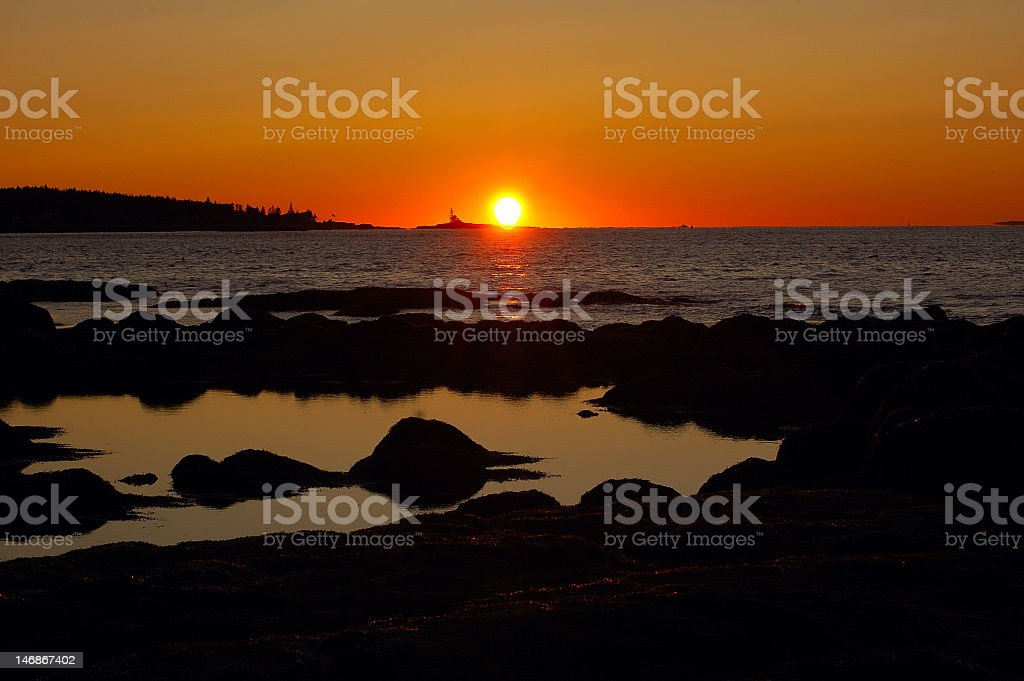 Down East Sun Rise Maine stock photo