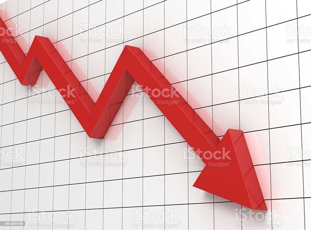 down graph stock photo