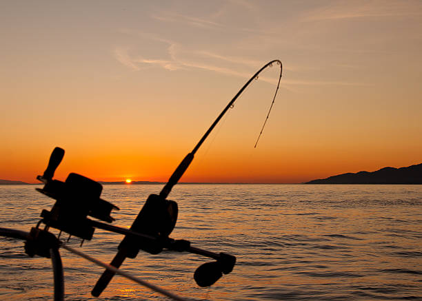 Down Rigging Fishing Rod At Sunset stock photo