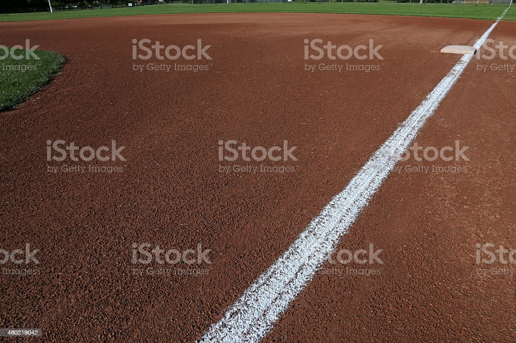 Down the First Base Line stock photo