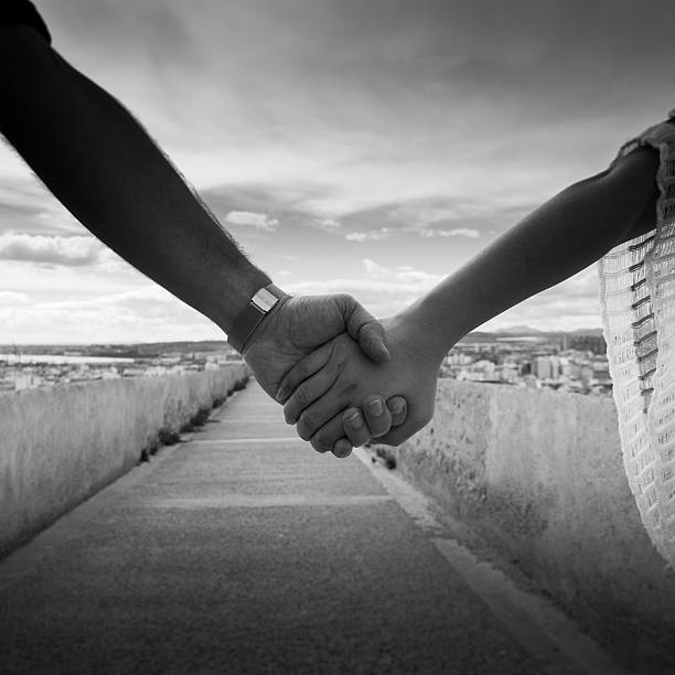 Down this road together stock photo