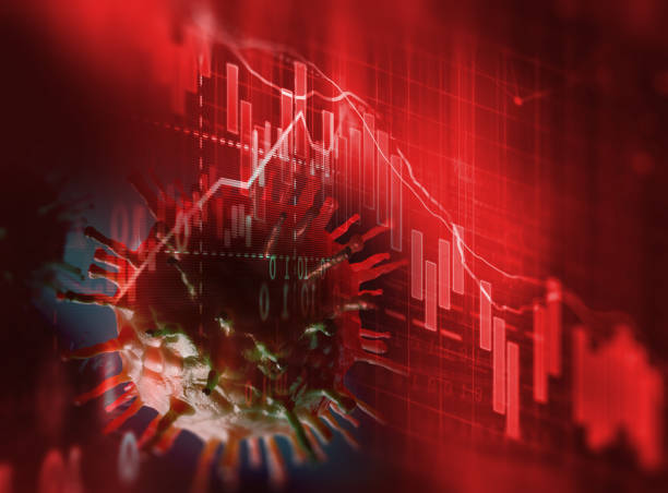 Down trend financial graph on nCov corona virus microscope image ,3d illustration stock photo