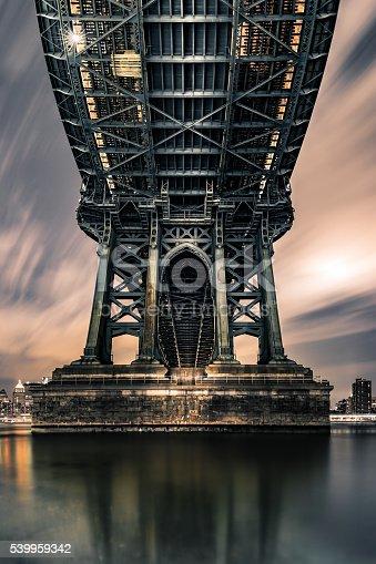 Moody symmetrical perspective under Manhattan Bridge at night.