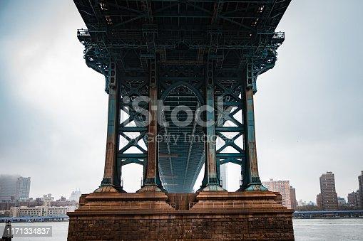 Down under the Manhattan bridge from Brooklyn, NYC, USA