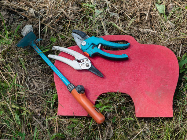 Downed gardening tools while user takes a break Downed gardening tools while user takes a break padding stock pictures, royalty-free photos & images