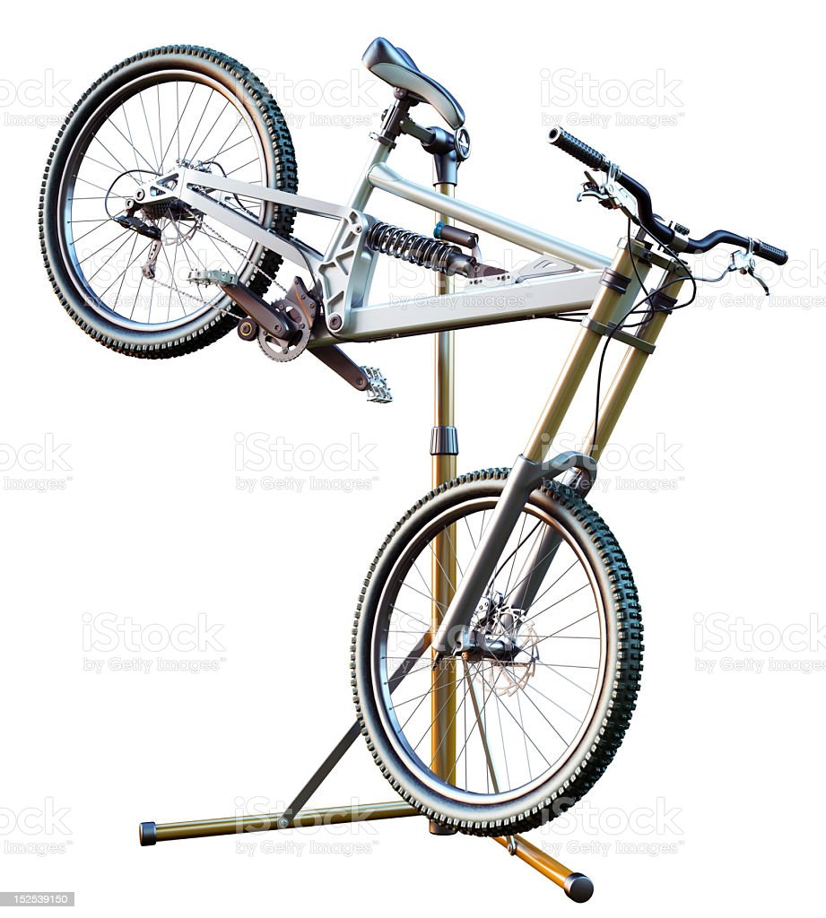 Downhill bike on the stand royalty-free stock photo
