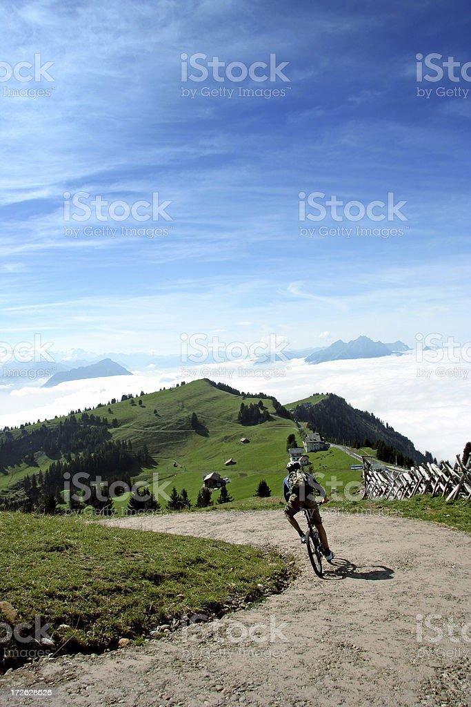 Downhill cycling royalty-free stock photo