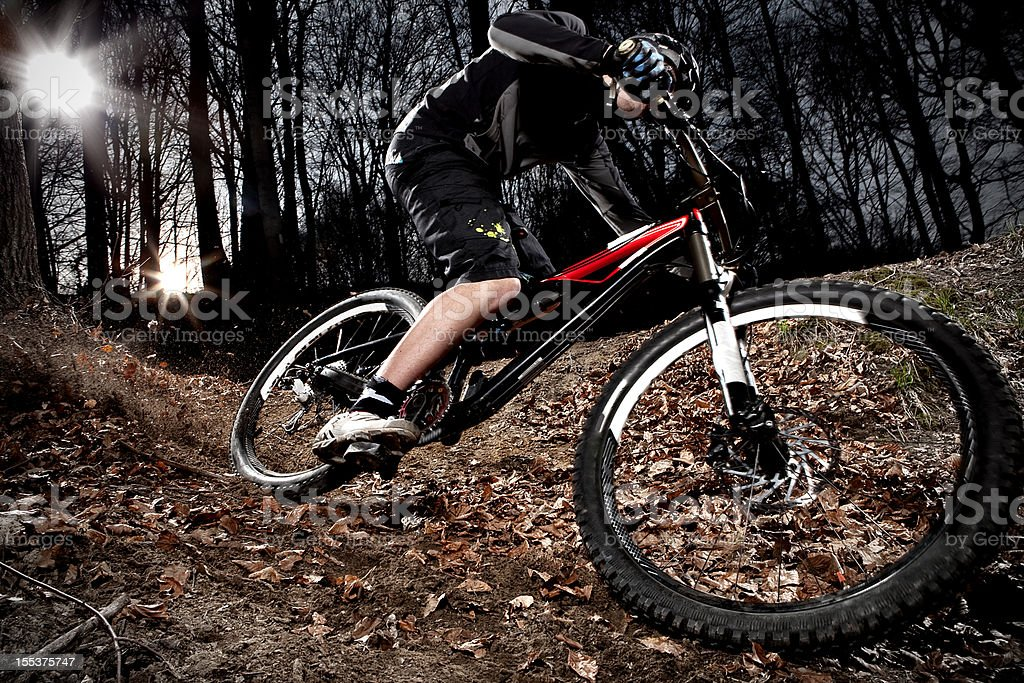 Downhill enduro mountain bike curve in the woods stock photo