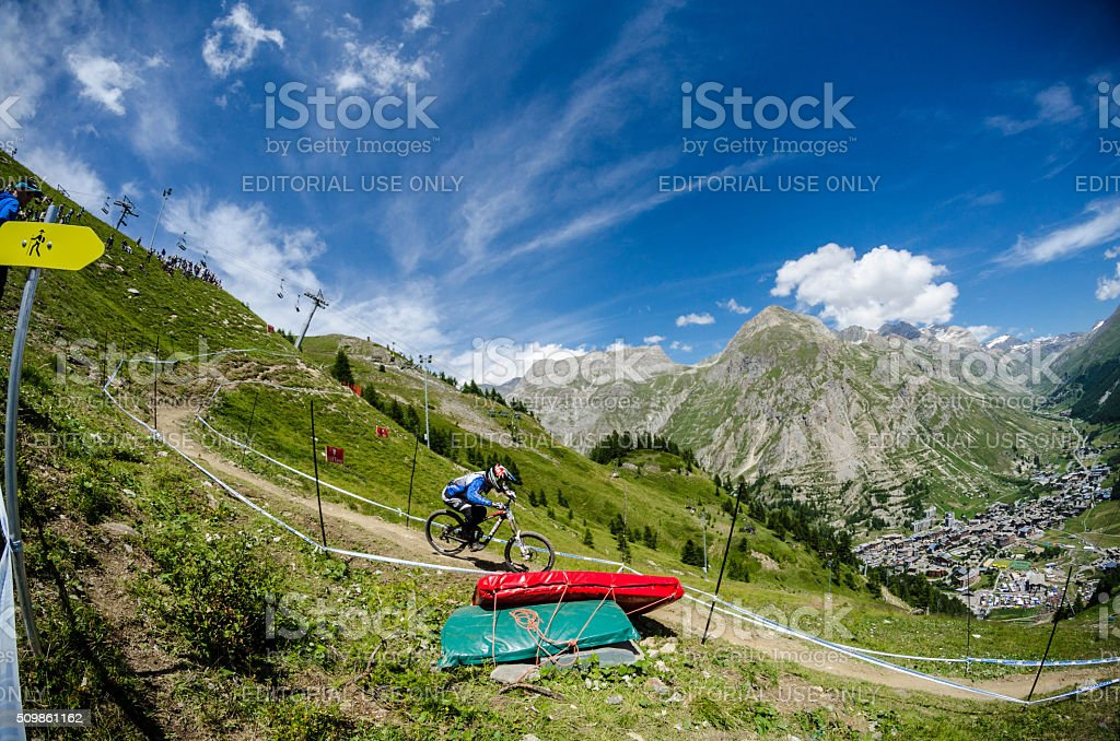 Downhill race in Mountains of Val-d'Isère, France stock photo