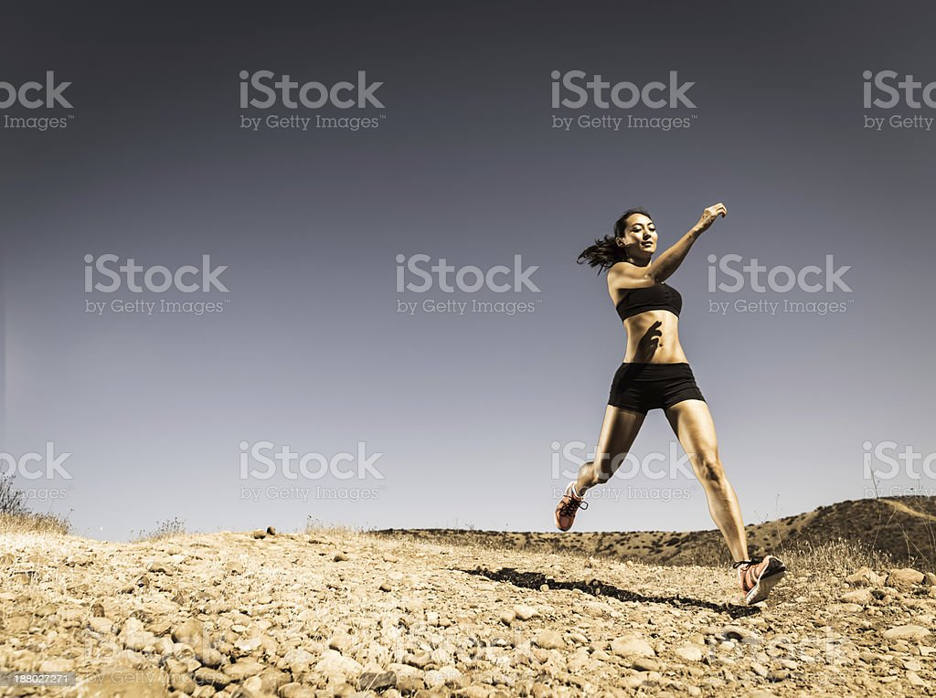 Downhill Runner stock photo