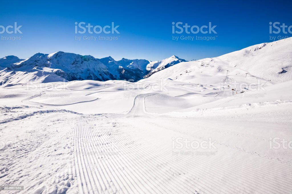 Downhill Ski Piste Ski Trail stock photo