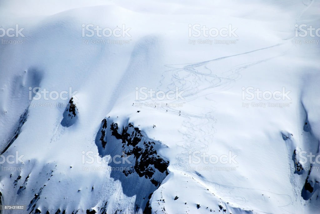 Downhill skiing on the glacier, Switzerland. стоковое фото