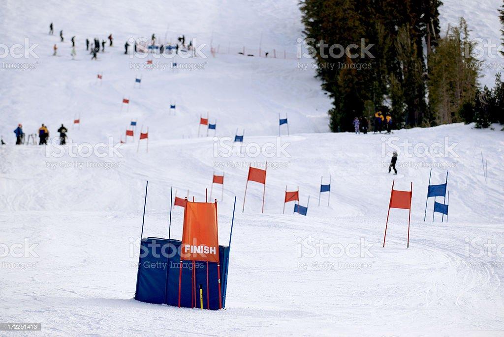 Downhill Slalom Ski Course stock photo
