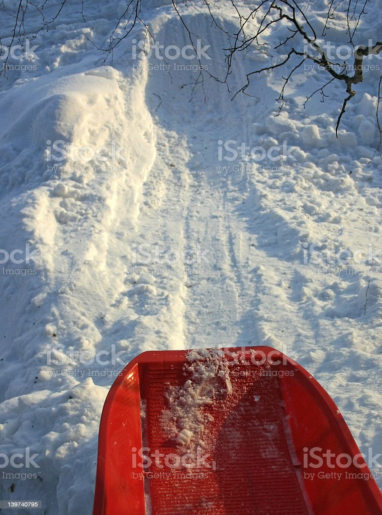 Downhill Sled royalty-free stock photo