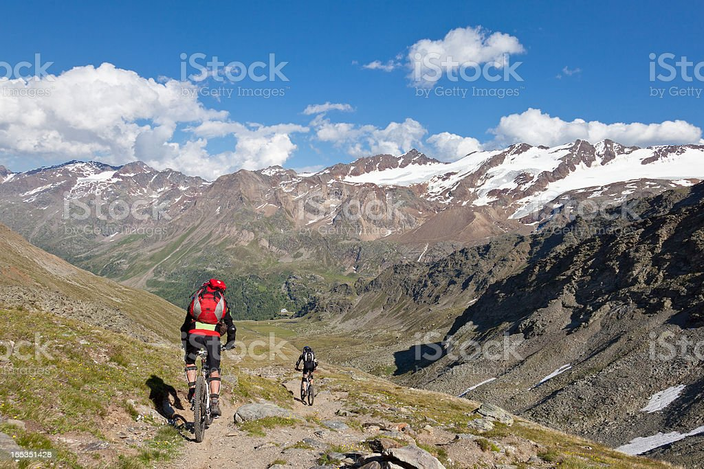 Downhill to Martell Valley, South Tyrol stock photo