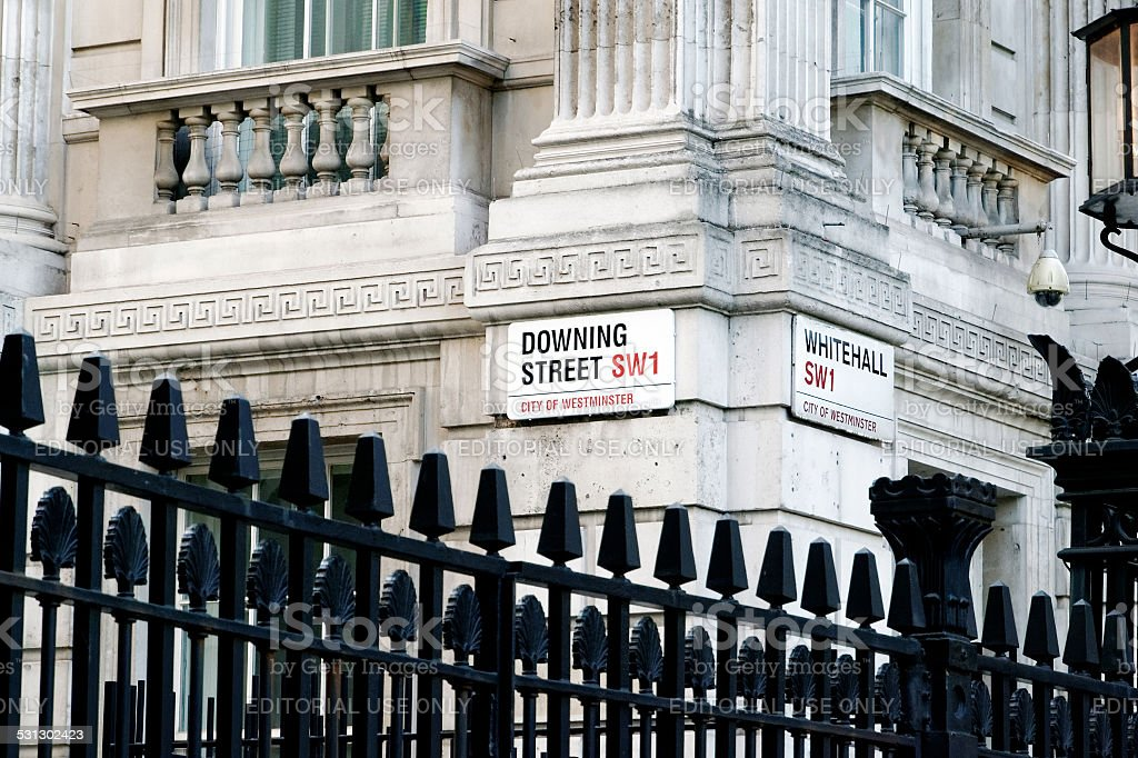 Downing Street Sign City of Westminster London, UK stock photo