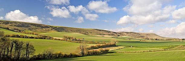 downland panorama at berwick - east sussex stockfoto's en -beelden