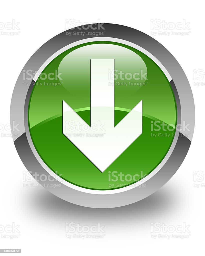 Download arrow icon glossy soft green round button stock photo