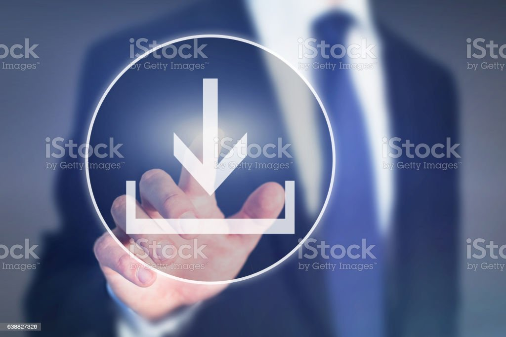 download button on touch screen, load concept stock photo