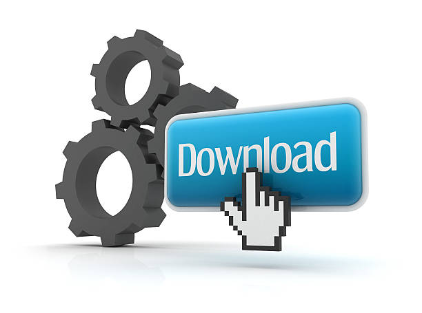 Download button with gears stock photo