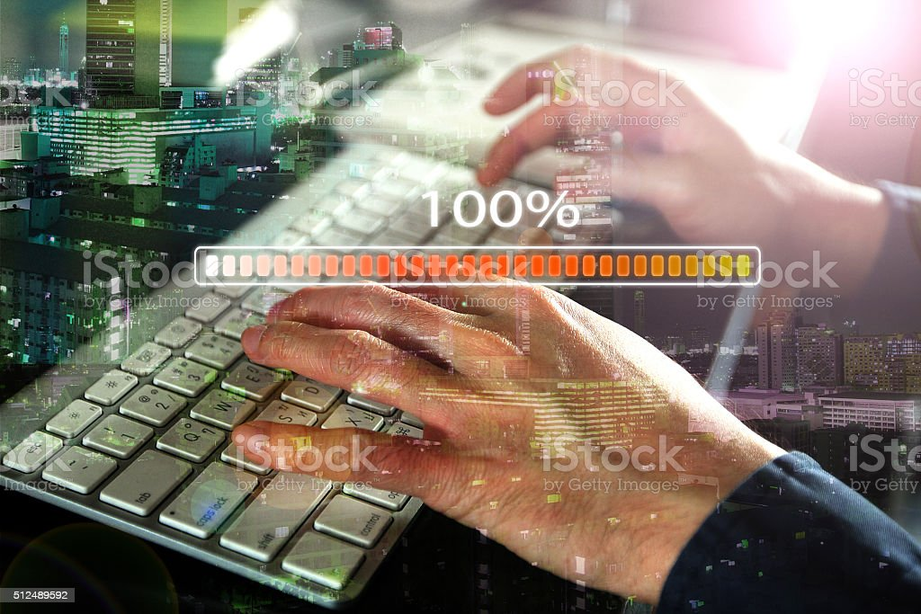 Download complete bar on keyboard stock photo