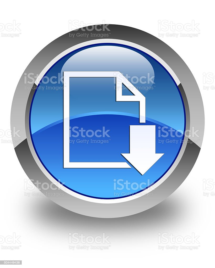 Download document icon glossy blue round button stock photo