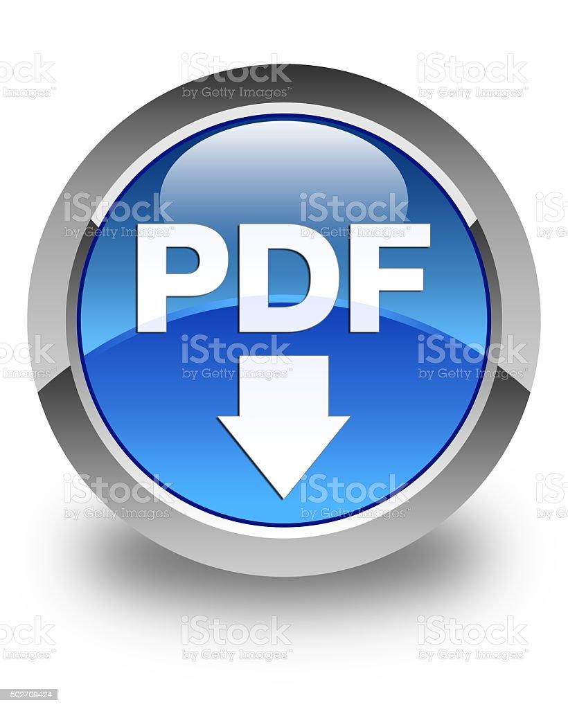 PDF download icon glossy blue round button stock photo