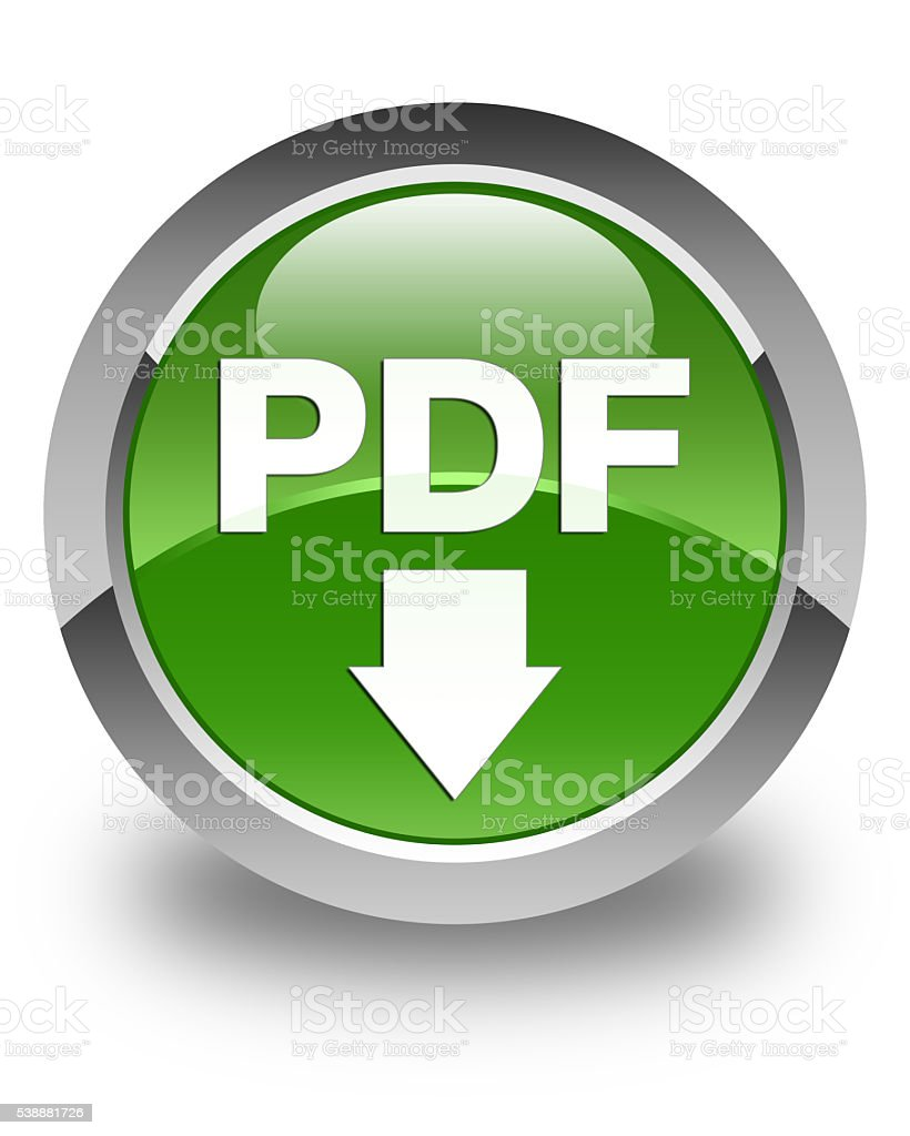 Pdf Download Icon Glossy Soft Green Round Button stock photo | iStock