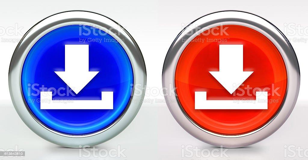 Download Icon on Button with Metallic Rim stock photo