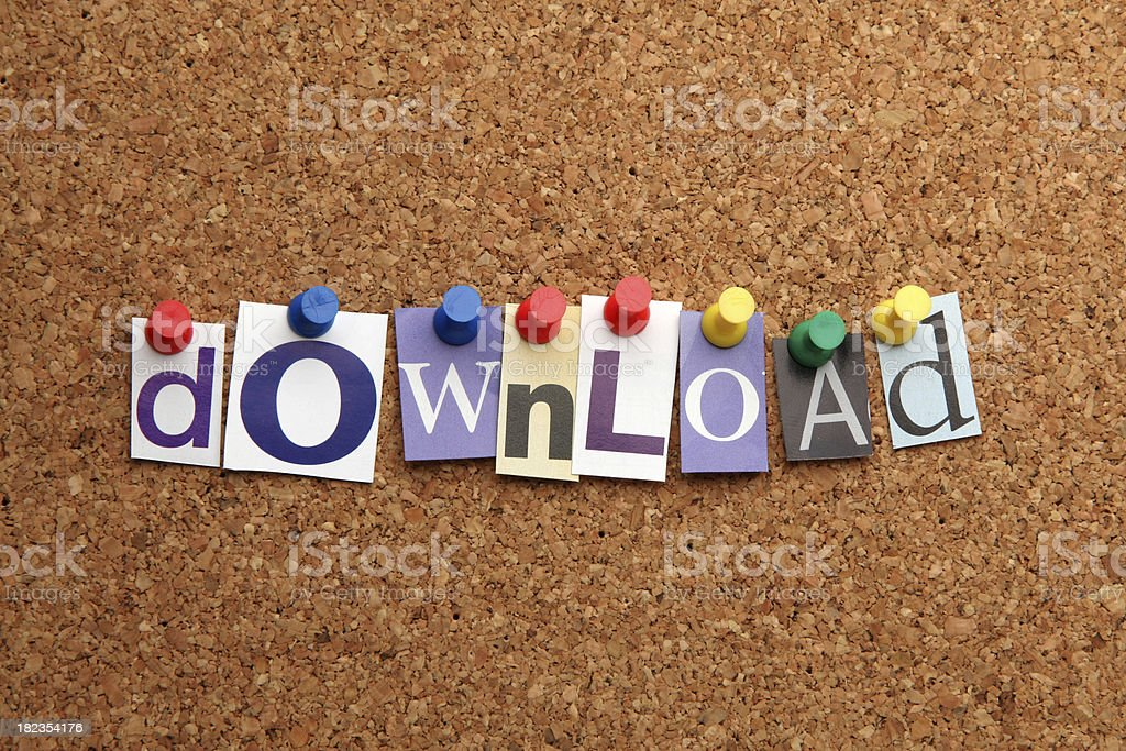 Download pinned on noticeboard royalty-free stock photo