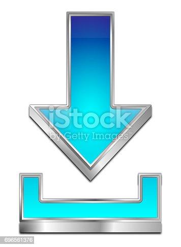 istock Download Symbol - 3D illustration 696561376