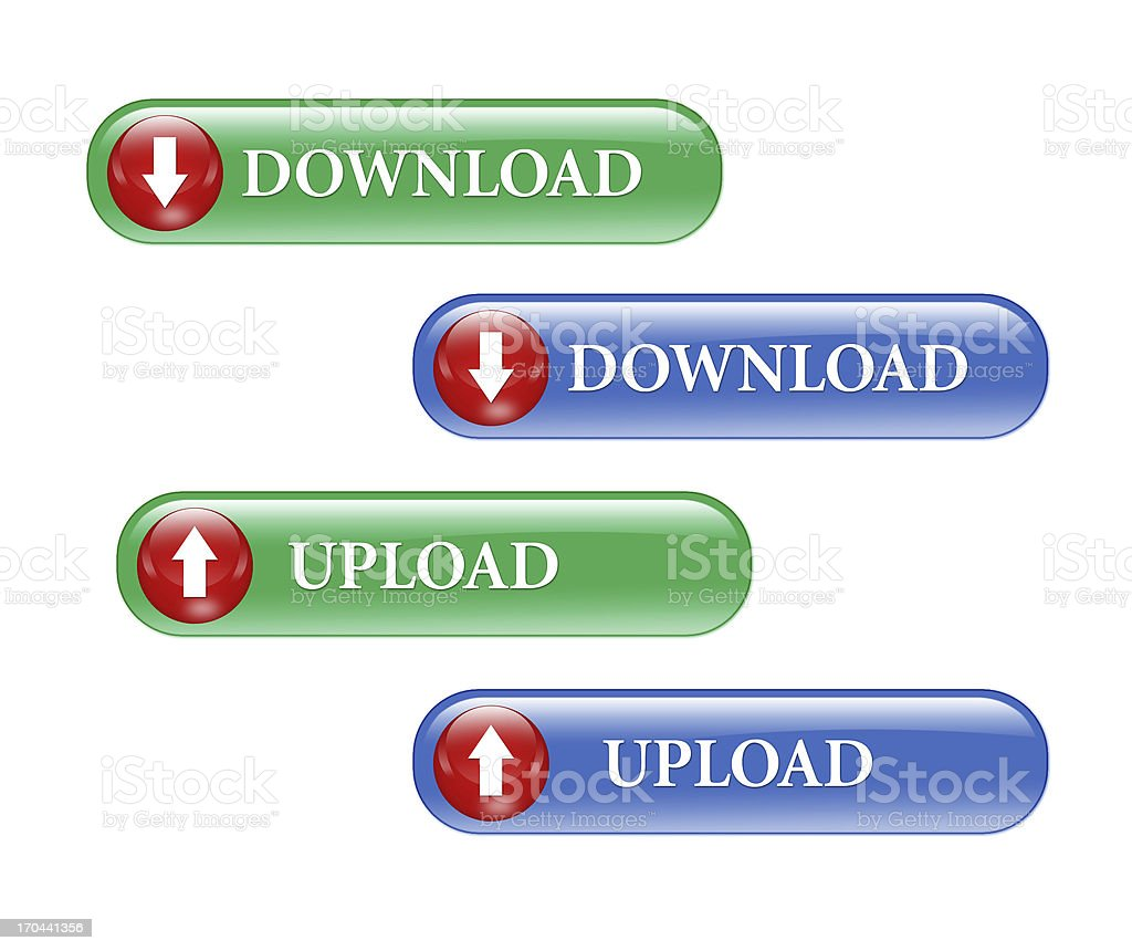 Download upload buttons stock photo